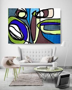 Vibrant Colorful Abstract-71. Mid-Century Modern Brown Blue