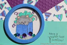 Designs by Dragonfly: Birthday Card ~ Celebration |  Cat birthday stamp by Newton's Nook Designs