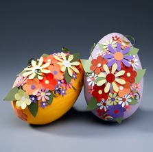 floral collaged eggs