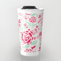 Pretty floral repeat pattern in shades of pink and mint.