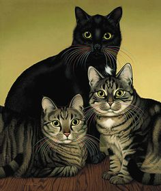 Notice their rainbow whiskers...I have owned this print for many years.  Braldt Bralds