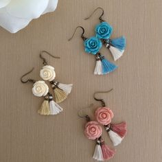 Bohemian tassel earrings Boho earrings Gypsy by MiniTasselDesigns Tassel Earing, Diy Tassel, Tassel Jewelry, Beaded Jewelry, Jewelery, Tassels, Beaded Earrings, Earrings Handmade, Handmade Jewelry