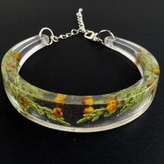 Another bangle from melted glass by Steph check out my shop for more flower jewelry, custom orders undertaken