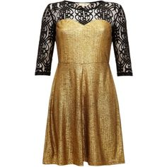 Yumi Gold and lace sweetheart dress ($33) ❤ liked on Polyvore featuring dresses, clearance, short party dresses, 3/4 sleeve lace dress, party dresses, gold dress and lace cocktail dress