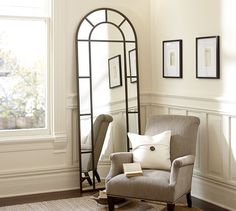 Distiller Arch Mirror | Pottery Barn--if I were willing to spend $500 on my full-length br mirror...