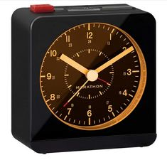 Marathon Silent Non-Ticking Alarm Clock with Warm Amber Auto Back Light and Repeating Snooze - Batteries Included - CL030053BK (Black/Black) Best Wall Clocks, Ticks, Alarm Clock, Marathon, Gold Watch, Amber, Warm, Black And White, Accessories