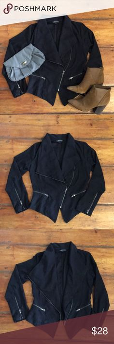 Black faux suede waterfall jacket Black faux suede waterfall jacket, zippers up front, waterfall details with gold over flaps in front, zippers on sleeves, zipper pockets on front, 100% polyester. Used a bunch of times but in excellent used condition. Rampage Jackets & Coats