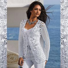 Some stunning crocheted tops. For some, diagrams are available . Max Azria, Thread Crochet, Crochet Hooks, Knit Crochet, Crochet Jumpers, Crochet Jacket, Crochet Cardigan, Bcbg, Crochet Videos
