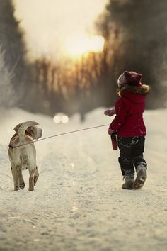 Walking the dog fashion cute animals dogs outdoors winter kids snow walk coat Winter Szenen, I Love Winter, Winter Walk, Winter Christmas, Winter Child, Christmas Plays, Family Christmas, Christmas Gifts, Winter Photography