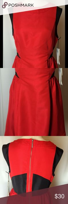 """Pranav Gurung for Target Apple Red Dress Great little red dress for that special occasion. Mostly red with color blocking in black, side slot pockets on both sides, back gold toned zipper, sleeveless and crew neckline. The shell is 89% polyester and 11% nylon. Fully lined with 100% polyester.  Machine wash/tumble dry low. Chest measurements are 35"""", waist measures 30"""" and back length is 32.5"""". Prabal Gurung for Target Dresses Midi"""