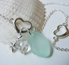 Sterling Silver Anklet  Aqua Sea Glass by BeachGlassMemories, $28.50