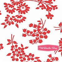 Pam Kitty Love Red on White Floral Birds Yardage SKU# LH12010-ROW
