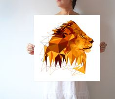 A01 - Lion - Savanna - Large wall art - Modern - Geometric by villavera on Etsy https://www.etsy.com/listing/228571691/a01-lion-savanna-large-wall-art-modern