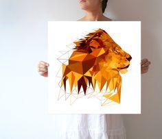 A01 - Lion - Savanna - Large wall art - Modern - Geometric by villavera on Etsy https://www.etsy.com/listing/228571691/a01-lion-savanna-large-wall-art-modern