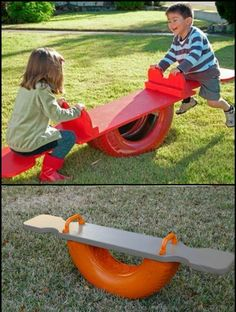 reuse old tires Backyard For Kids, Backyard Games, Diy For Kids, Diy Playground, Outdoor Projects, Garden Projects, Tire Craft, Tire Garden, Design Jardin