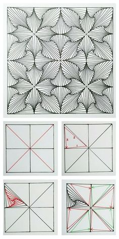 Paradox tangle / zentangle pattern - how to. - 4 steps to get started - - Zentangle - Handdraw Spiral Drawing, Mandala Drawing, Drawing Flowers, Illusion Drawings, Illusion Art, Geometric Shapes Drawing, Easy Zentangle Patterns, Zen Doodle Patterns, Zentangle Drawings