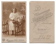 Cute Little Girl with Flower Basket by Fence Antique German CDV Photograph