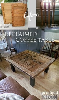 This reclaimed coffee table is made from curbside finds, including an antique upright grand piano. See the DIY details at Prodigal Pieces | prodigalpieces.com #prodigalpieces #farmhouse #furniture #diy #woodworking #reclaimed #furniture #home #homedecor Plumbing Pipe Furniture, Reclaimed Furniture, Vintage Industrial Furniture, Farmhouse Furniture, Refinished Furniture, Industrial Style, Diy Furniture Decor, Room Furniture Design, Eclectic Furniture