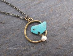 Hand Patina Antique Brass BlueBird Necklace with by cblandcompany, $18.00
