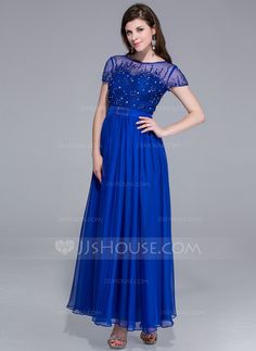A-Line/Princess Scoop Neck Ankle-Length Chiffon Charmeuse Evening Dress With Beading (017025438)