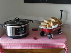 Barbecue with rolls served from small wagon - The Preppy Baby: The big first birthday celebration Picnic Birthday, Birthday Board, First Birthday Parties, Birthday Celebration, Birthday Party Themes, Boy Birthday, First Birthdays, Birthday Ideas, Red Wagon Party