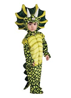 Silly Safari Costume, Triceratops Costume,Toddler - - Go Back to the Past in this great Dinosaur Costume. Costume includes Romper with attached tail and headpiece. Easy on and off with velcro closures. Dinosaur Halloween Costume, Cute Halloween Costumes, Halloween Kids, Halloween Carnival, Carnival Birthday, Dino Costume, Dragon Costume, Halloween Tricks, Halloween Celebration