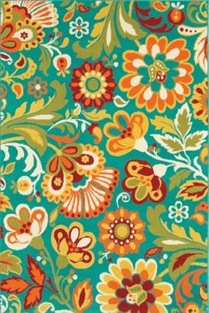 Shaw Al Fresco Floral Turquoise (10400) Area Rugs..It's kinda bold but I like it!