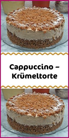 Cappuccino - crumble cake - Ingredients For the dough: (cake base) 150 g sugar 150 g nuts ground 4 egg (s) 50 g chocolate grate - Easy Vanilla Cake Recipe, Easy Cupcake Recipes, Easy Cheesecake Recipes, Dessert Recipes, Easy Chocolate Desserts, Chocolate Cake Recipe Easy, Chocolate Cookie Recipes, Chocolate Cakes, Dessert Simple