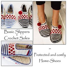 Ravelry: E-Book 2in1 Pack for Stripe and Dot Slippers + Tailored Crochet Sole Pattern/ Sole-Treatment - patterns