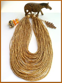 Gold Multistrand Necklace, Gold Seed Bead Necklace Big Gold Multistrand Necklace Tribal Ethnic Gold Necklace, Big Gold Earring Made in Italy