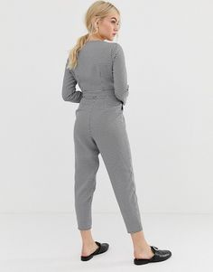 f69f2ab4845 Miss Selfridge Petite tailored jumpsuit in houndstooth