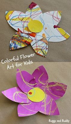 Watercolor and Oil Pastel Resist Flower Craft for Kids: This spring art project is perfect for preschool, kindergarten, and on up! ~ http://BuggyandBuddy.com