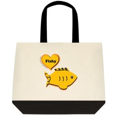 """""""Fishy,"""" Two-Toned Tote Bag Color:  Natural Off-white/Black Color is as pictured here in this image. 100% Cotton (19"""" x 15"""" x 6"""") Find the Two-Toned Tote Bag @  angelwingz_star_designz. $42.99 no extra shipping applied. Ships in U.S.A except for HI & AK."""