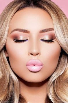 макияж губ розовый светлый