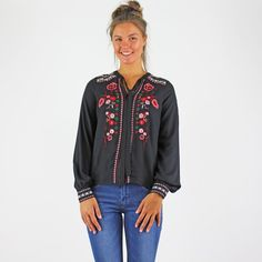 Gorgeous Soft Black Folk Embroidered Top By Vero Moda. With Long Sleeves And A Neck Tie Long Sleeve Tops, Bomber Jacket, Tie, Blouse, Sleeves, Jackets, Black, Women, Fashion