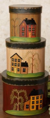 New Primitive Country Saltbox House Willow Tree Storage Nest.- New Primitive Country Saltbox House Willow Tree Storage Nesting Stacking Boxes New Primitive Country Saltbox House Willow Tree Storage Nesting Stacking Boxes - Country Primitive, Primitive Homes, Primitive Crafts, Country Farmhouse, Primitive Kunst, Primitive Painting, Tole Painting, Pintura Country, Country Crafts
