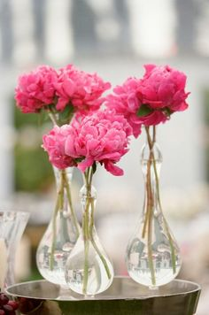 pink with bulb shaped vases