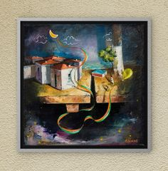 Another Dreamland chapter, full of childhood memories. Oil on canvas. Oil On Canvas, Canvas Wall Art, Night Skies, Childhood Memories, Fairy Tales, Symbols, Paintings, Sky, The Originals