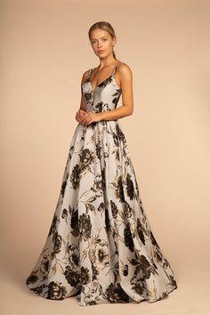 GLS 1511 - Lace Applique A-Line V-Neck Plunging Back Ball Gown ... 9ce89587e