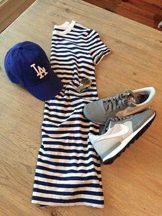 striped t-shirt dress with nikes; baseball game dress