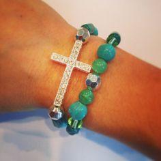 Sideways cross bracelet setturquoise by AroundMyWrist on Etsy - Mother's Day, 19.00