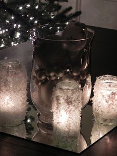 fake snow candles - fun craft to do with kids