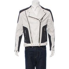 Pre-owned Balmain Denim Biker Jacket (7.735 DKK) ❤ liked on Polyvore featuring men's fashion, men's clothing, men's outerwear, men's jackets, white, mens white denim jacket, mens motorcycle jackets, mens jackets and mens biker jacket