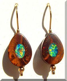 Opals-On-Black - Gem Crystal Boulder Inlay Opal Earrings