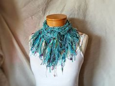 Knit cotton scarf  Fringe cowl neck Light by 910woolgathering