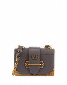 d7e16111c2ab PRADA Cahier Small Leather Trunk Crossbody Bag