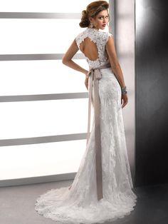 A-line Lace Square Natural Waist Sweep/Brush Train Keyhole Back Cap sleeve Beading Flowers Wedding Dress
