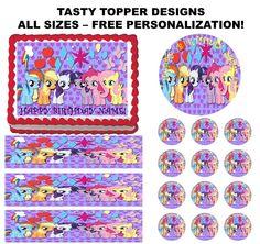 My Little Pony Birthday Party Theme Edible Cake Topper Cupcake Strips Wraps   eBay
