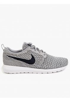 Nike Men's Grey Flyknit Roshe Run Sneakers