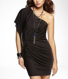 ONE SLEEVE RUCHED DRESS at Express I will have this dress!!